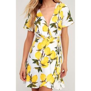 Lulus lemon wrap dress 🍋
